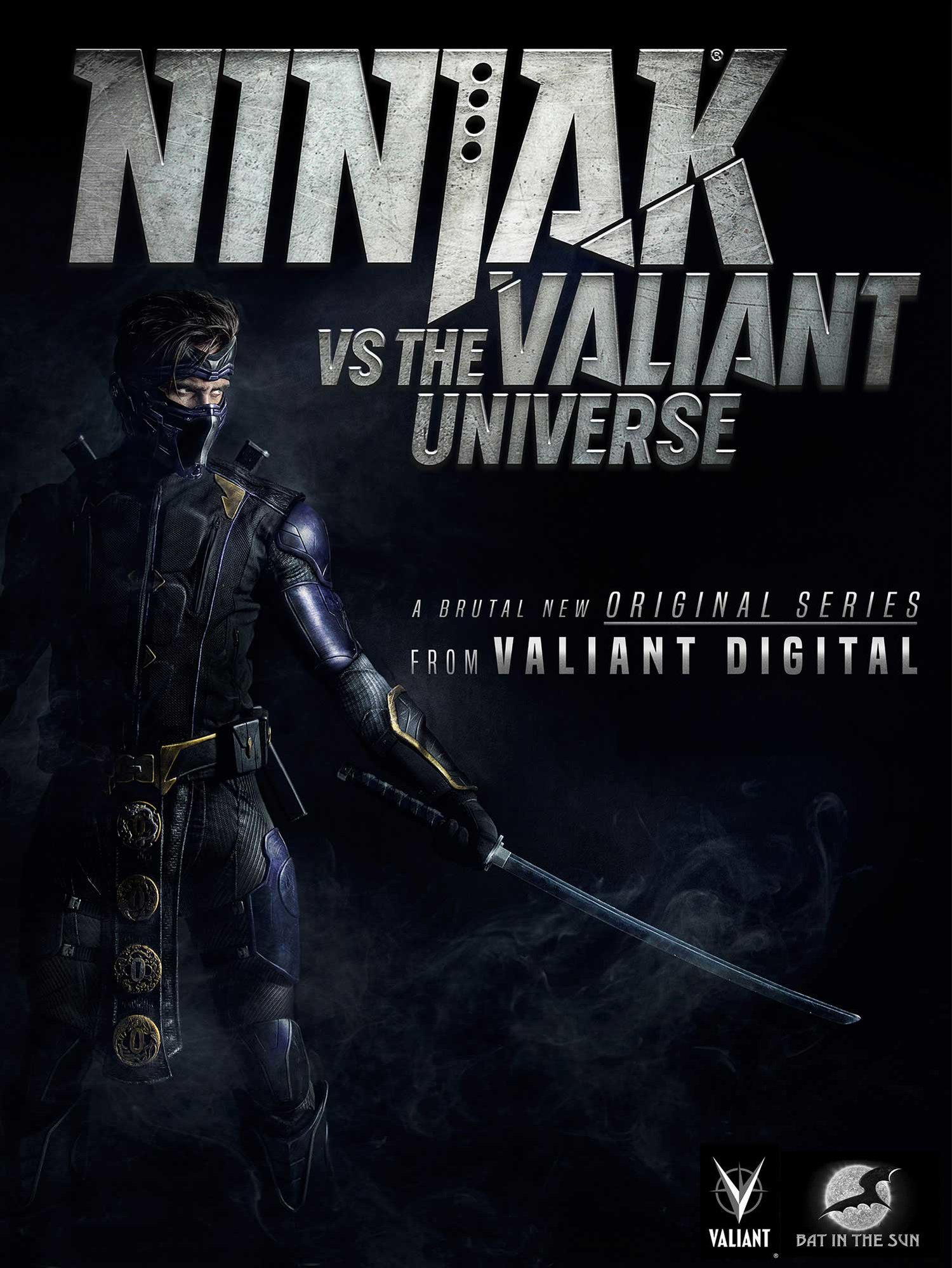 Poster featuring Ninjak. Text reads Ninjak vs the Valiant Universe