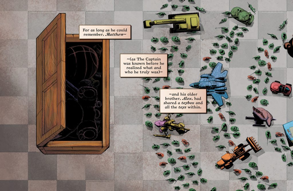A toy box is open with toy army men and and dolls laid out in concentric circles in front of it.