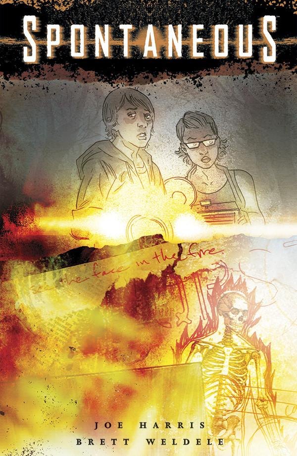 A man and woman use flashlights to look out at the reader. Below them fire has burned up the page and skeleton burns.