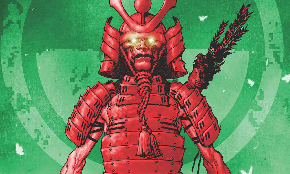 The red ghost of a samurai is in front of a green background. The background has a radiation symbol on it.