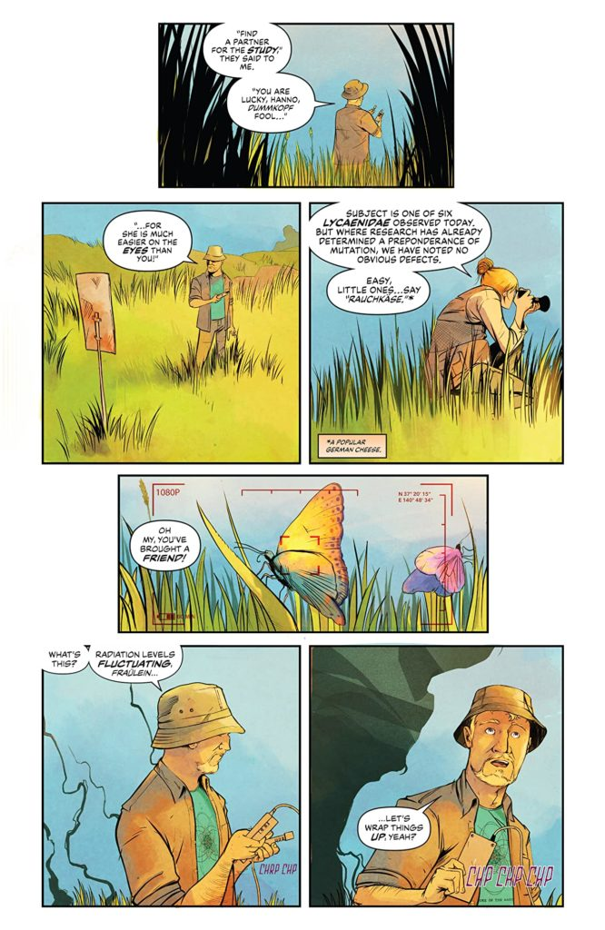 An letterd page of art from Disaster Inc issue 1. A female photography and a man in a hat are talking.