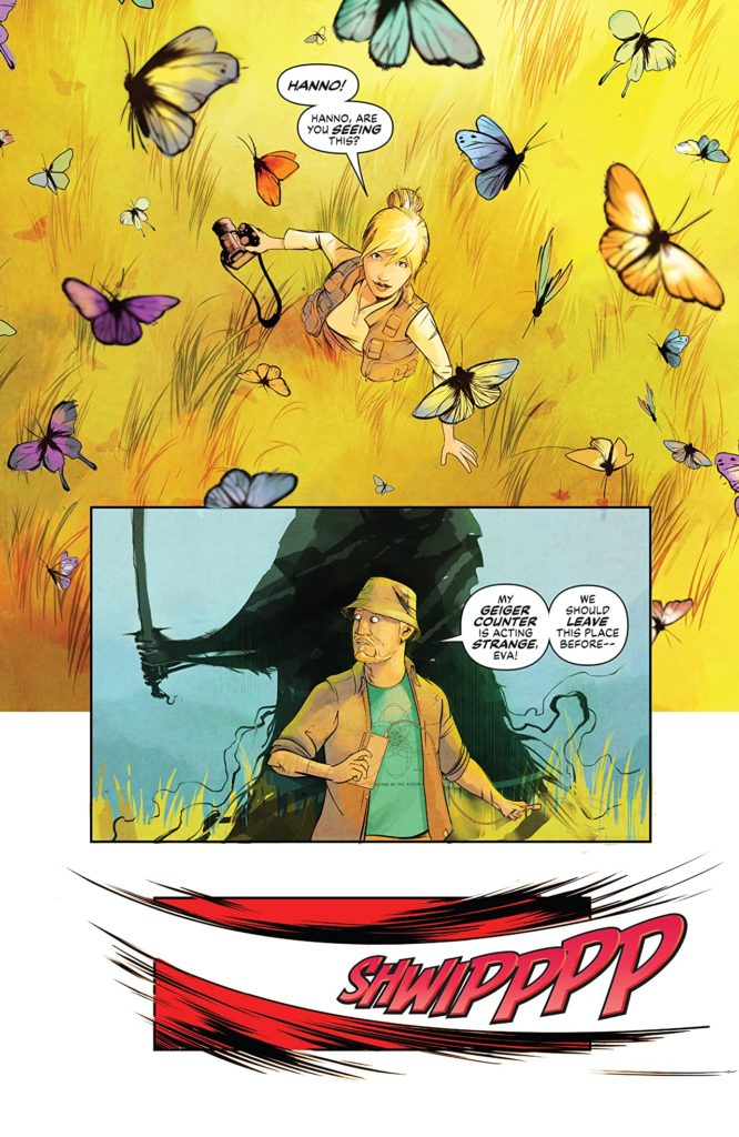 A lettered page of art from Disaster Inc issue 1. Main image shows a man with a shadowy figure holding a sword behind him.