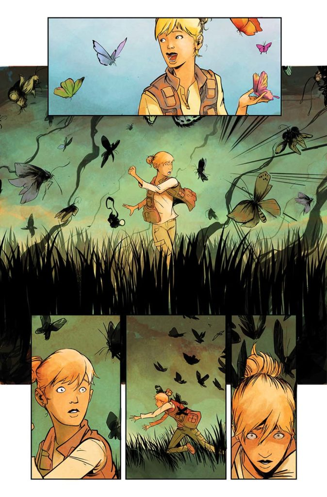 An unlettered page of art from Disaster Inc issue 1. Main image has a female photographer surrounded by bugs and darkness.